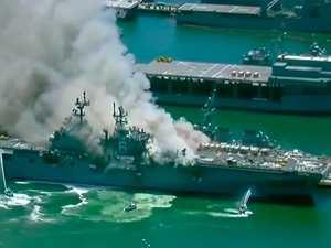 Explosion on US Navy warship