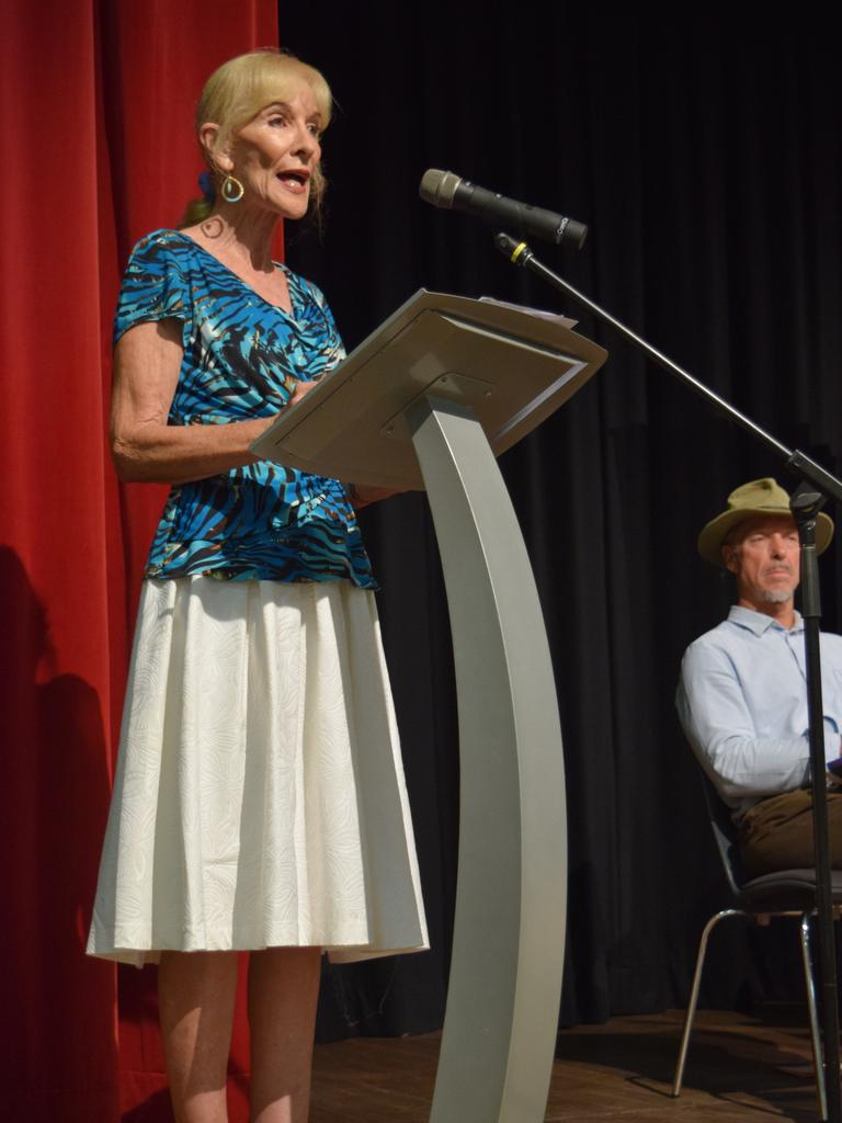 Sunshine Coast Arts, Convention, Exhibition and Entertainment Association chairwoman Alison Barry-Jones speaks at the Sunshine Coast Daily's election forum in Maleny earlier this year during her unsuccessful bid to become a councillor.