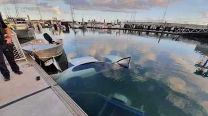 COMMODORE CALAMITY: Car slips into ocean