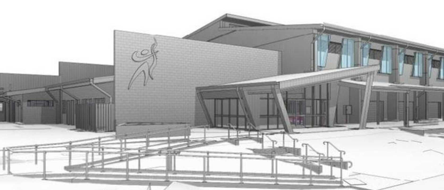 An artist's rendering of the $12 million multipurpose performing arts and sports hall at Sarina State High School.
