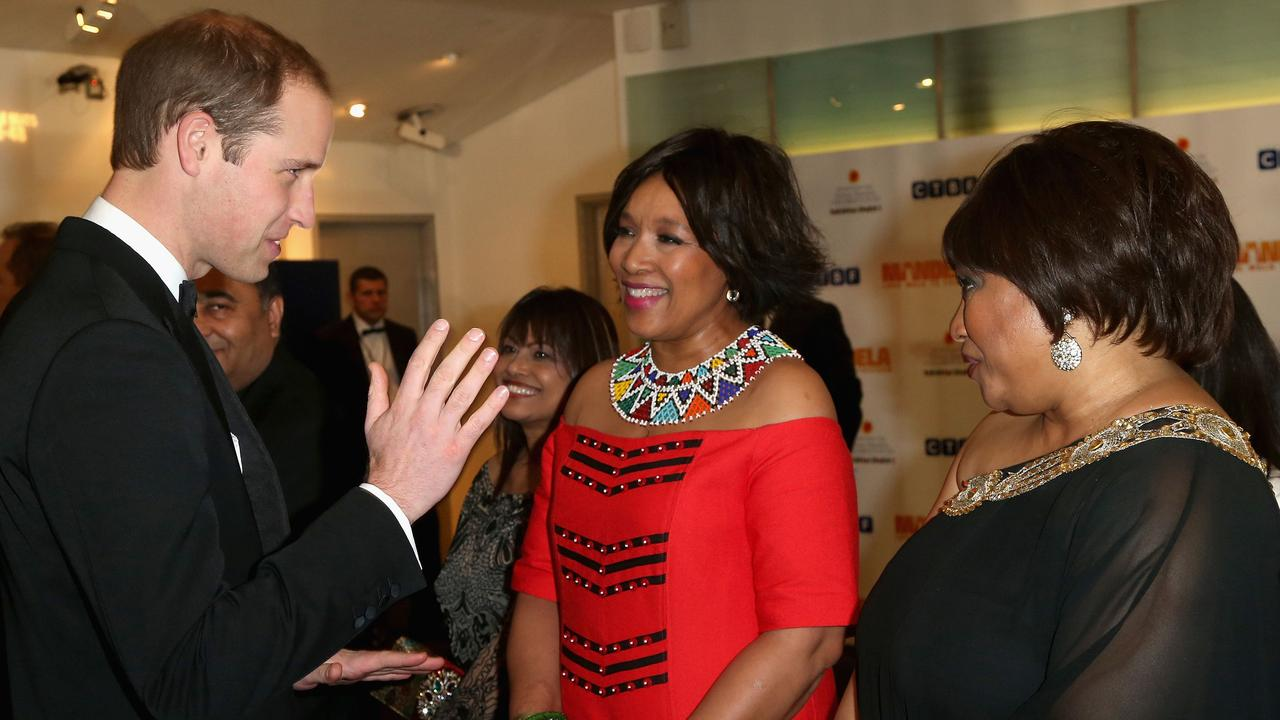 Zindzi Mandela, right, pictured with Prince William, Duke of Cambridge, in 2013. Picture: Chris Jackson, Pool/AP