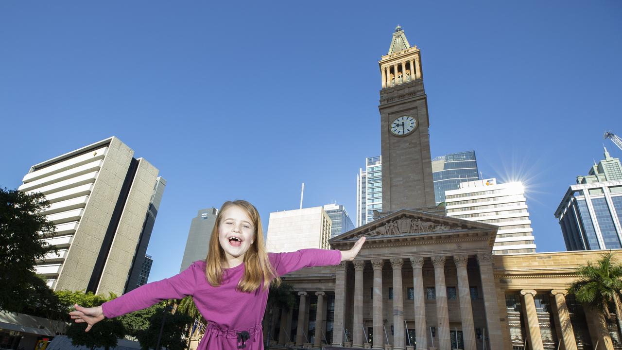 Malia Knox has written a letter to the Qld Women's Minister asking why there are only two statues of women in all of Brisbane. Malia Knox poses for a photograph outside City Hall in King George Square, Brisbane. June 13, 2020 – Picture: Supplied