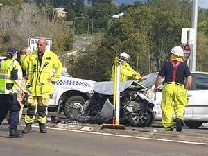 Front of car crumpled in nasty Normanby Bridge crash