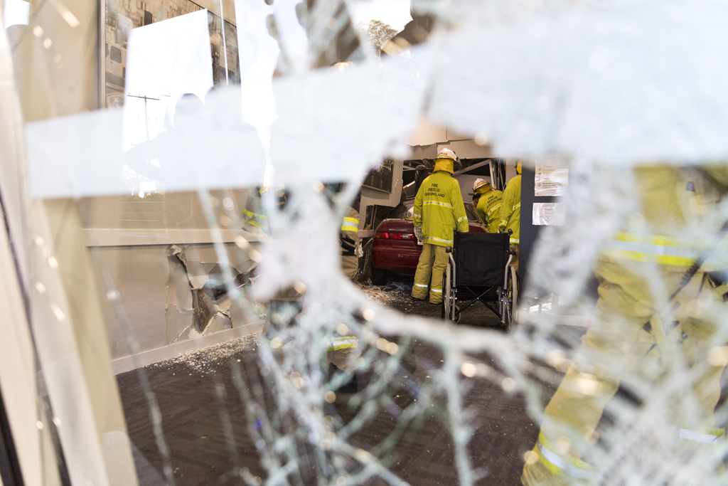 Emergency serives at Rangeside Medical Centre where a car has been driven into the building, July 14, 2020. Picture: Kevin Farmer