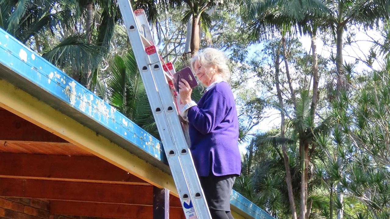 Lismore LGA resident Lorraine Vass hoping to get enough signal to receive an urgent text message.