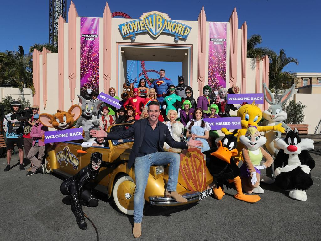 Village Roadshow CEO Clark Kirby and Movie World staff are keen to reopen the theme park today. Picture Glenn Hampson