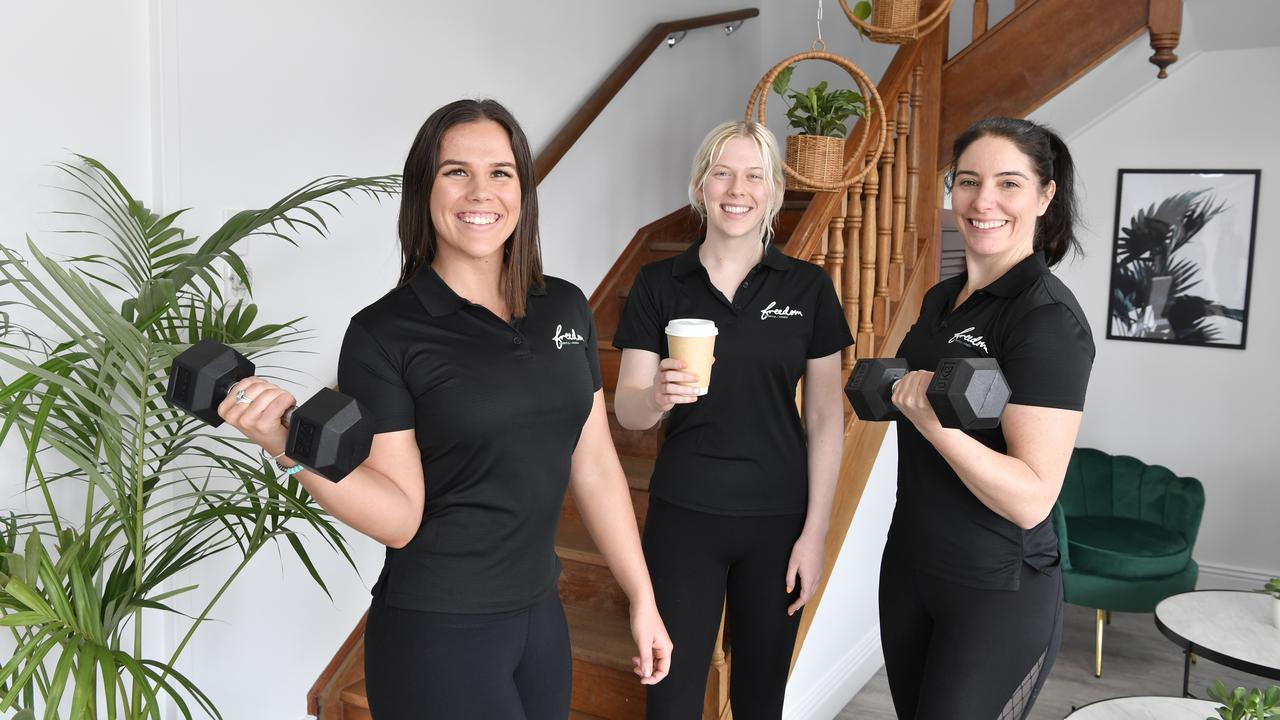 Launching Freedom Lifestyle and Fitness are (from left) director Nicole Steffens, staff member Montana Kennedy and manager Catherine Johnson, Friday, July 10, 2020. Picture: Kevin Farmer