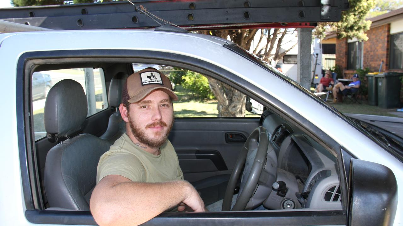 James 'Jimmy' Canhan of Boyne Island in the ute in which a large brown snake repeatedly struck at him while driving home from work on the Dawson Highway in June. Picture: Rodney Stevens
