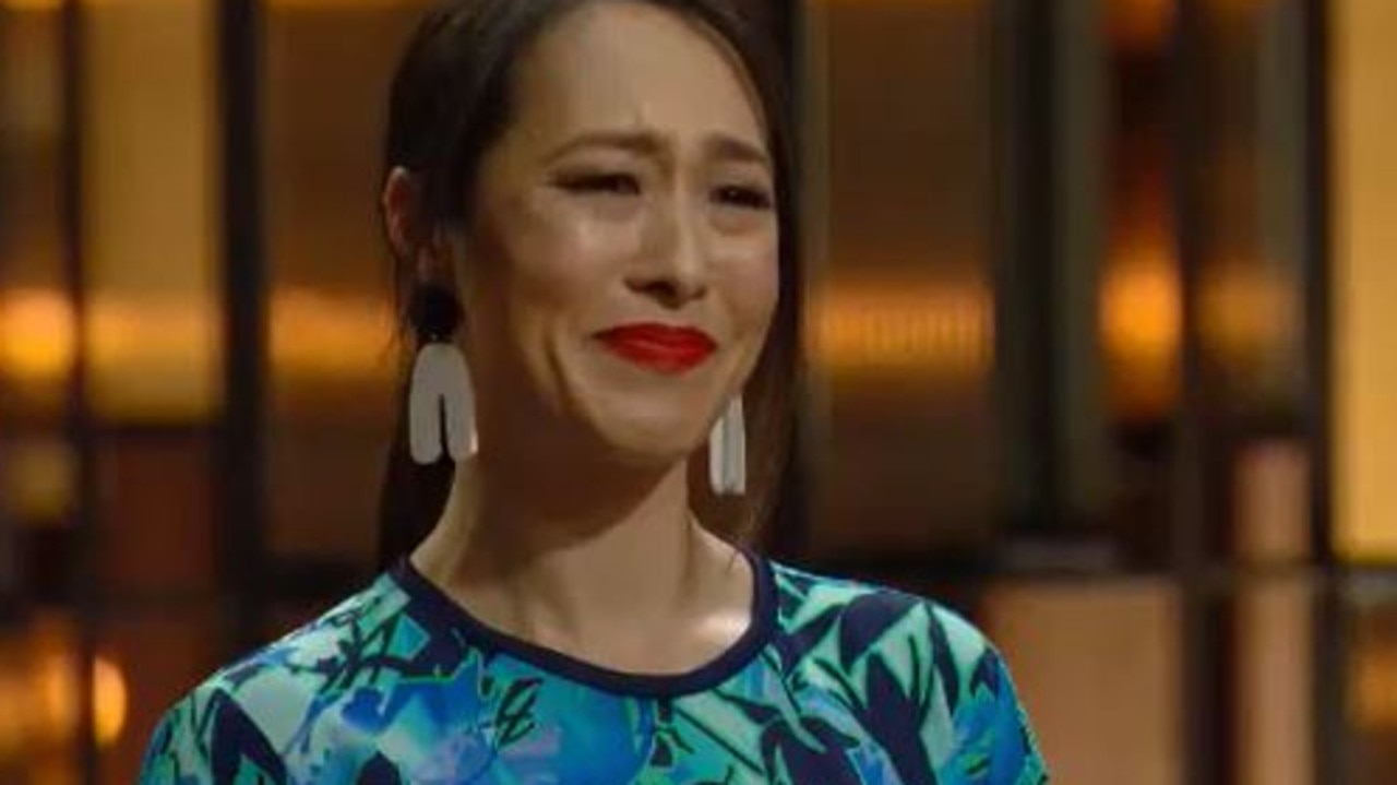 Melissa had tears in her eyes while saying goodbye to Callum Hann. Picture: Channel 10