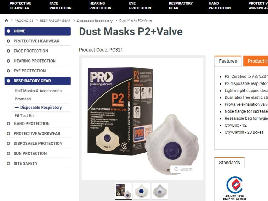Pro Choice Safety Gear P2 Masks.