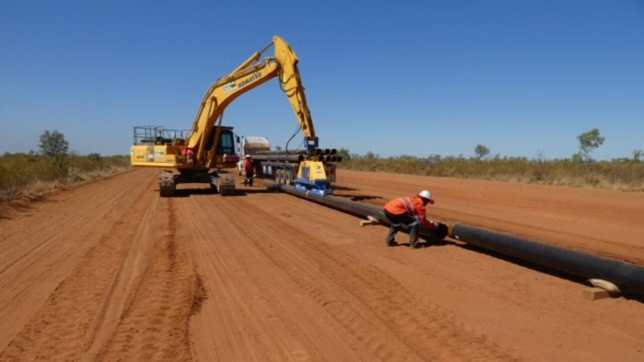 FILE PHOTO: A gas pipeline being fitted.