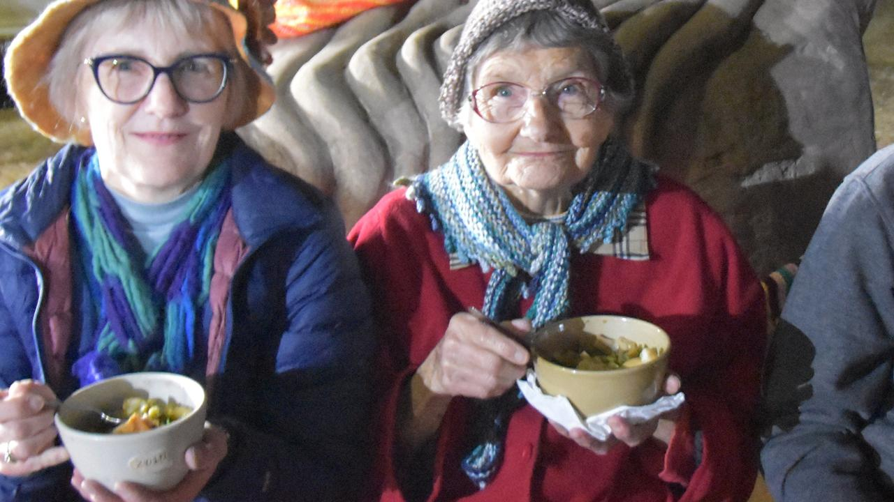 SOUP NIGHT: Anne and Dorothy Driver enjoy their soup at the 2019 event.