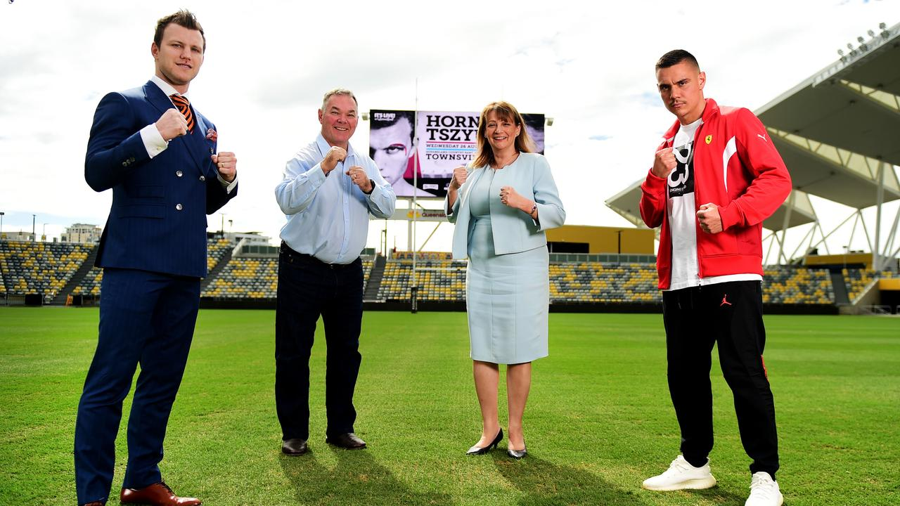 Media lead up for Rumble on the Reef; Jeff Horn Vs Tim Tszyu in Townsville at Queensland Country Bank Stadium. Pictured with Scott Stewart MP and Mayor Jenny Hill. Picture: Alix Sweeney