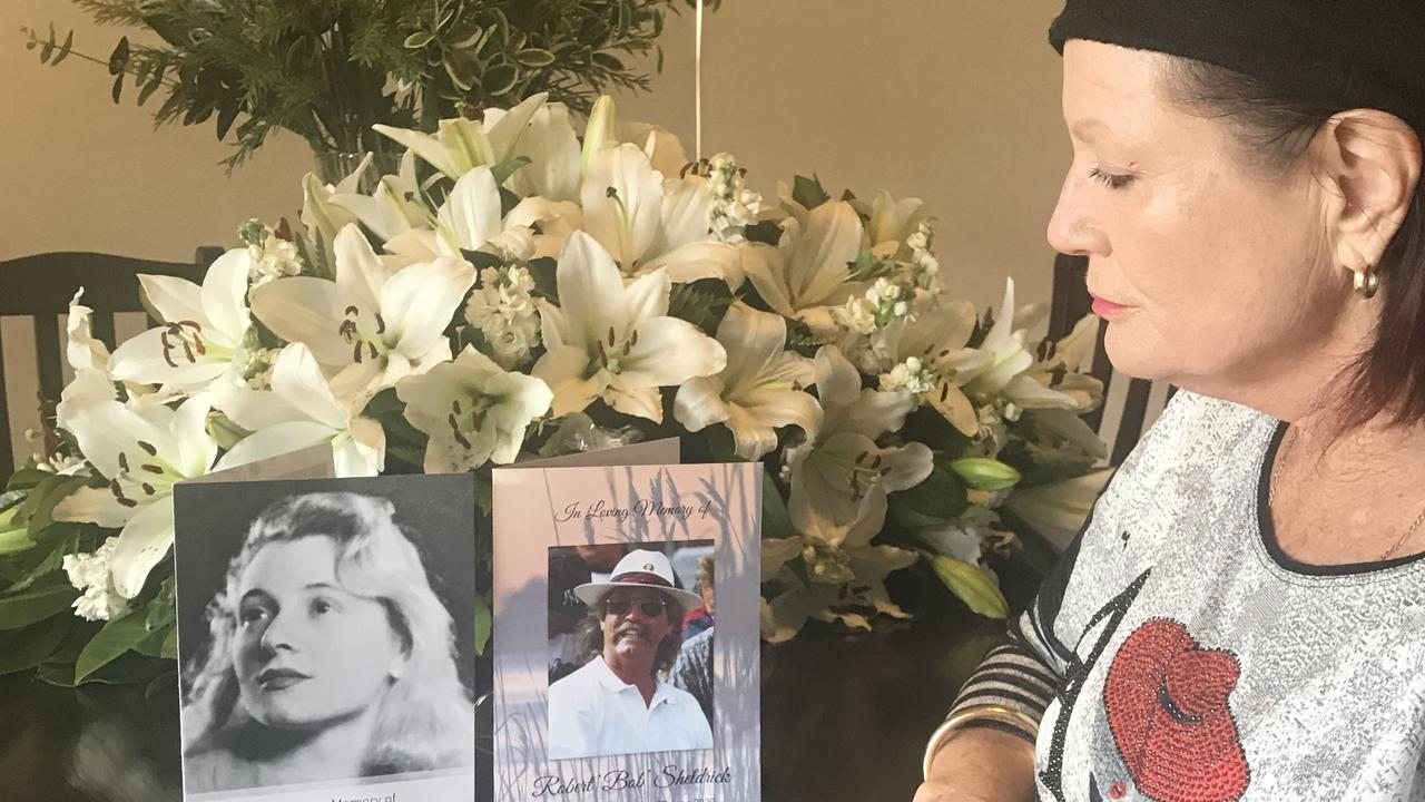 Donna Sheldrick wants an exemption to return to the Gold Coast and isolate at home due to a medical condition. She looks on at the funeral notices of her departed family members.