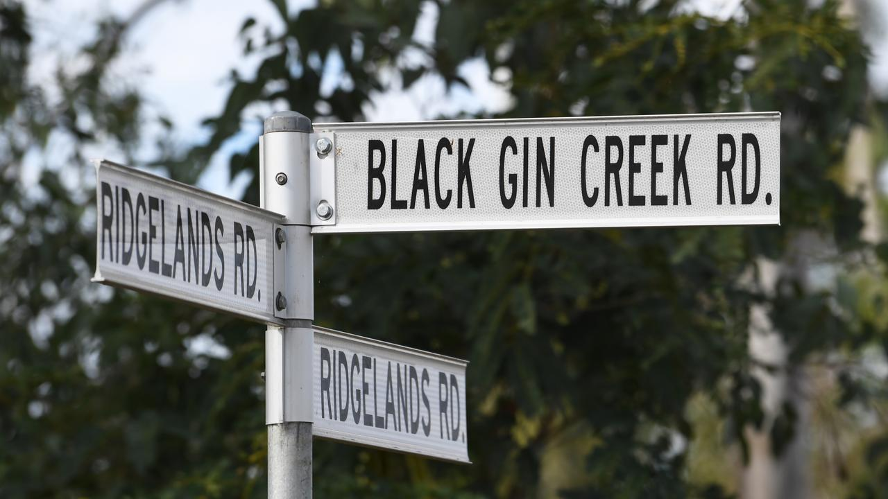 The Black Gin Creek Rd sign.