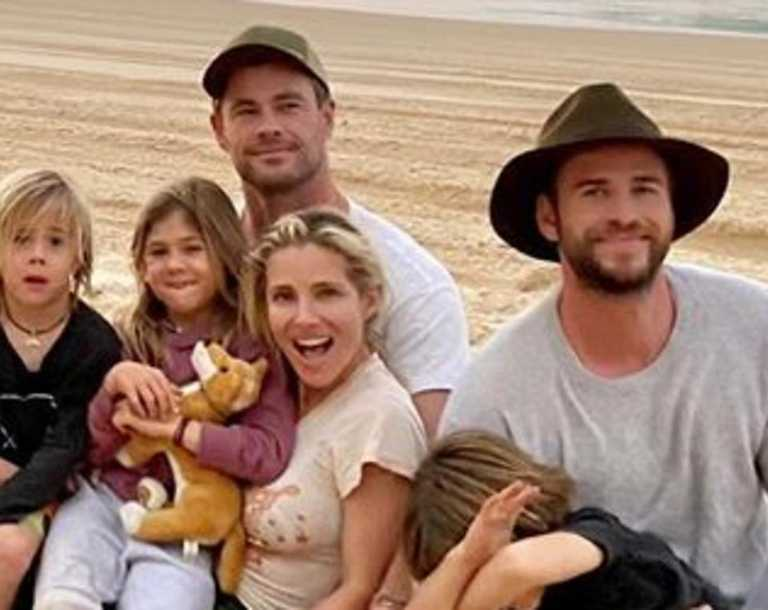 Chris and Liam Hemsworth with Elsa Pataky and friends Luke and April Munro at Rainbow Beach and Double Island Point. Picture:Instagram/@aprilmun