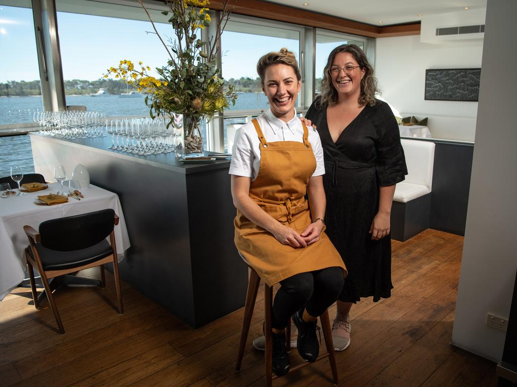Star chef Alanna Sapwell with manager Jemima Phillips at her new restaurant Esmay on the Noosa River. Picture: Brad Fleet