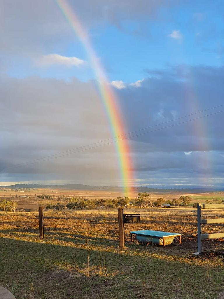 Alexandra Beer sent through this beautiful image of a rainbow on the land, but curiously no pot of gold. Thanks, Alexandra!