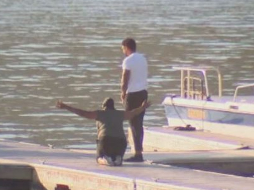 Naya Rivera's mother, Yolanda, and brother Mychal Rivera at the lake where the star disappeared. Picture: ABC7