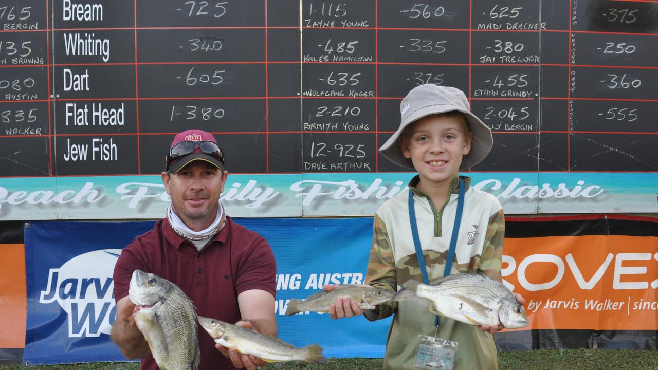 Braith Young and Cooper Young show of their catches at last year's event, which was host to about 600. This year's is capped at 350, barring any further loosening of restrictions.