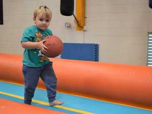 Yander Jensen, 2, finding all of the balls to play