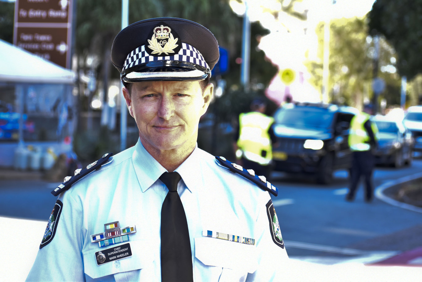 Queensland Police's Chief Superintendent Mark Wheeler at a press conference at the Griffith St, Coolangatta border checkpoint this morning. Photo: Jessica Lamb