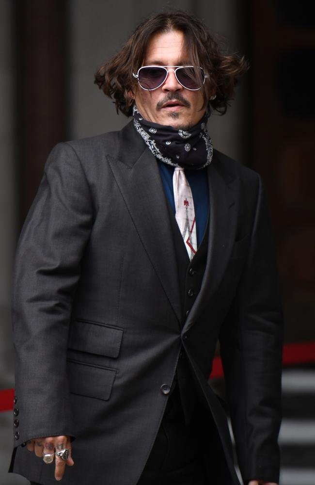 Johnny Depp arrives at The Royal Courts of Justice in London on July 8. Picture: Chris J Ratcliffe/Getty Images
