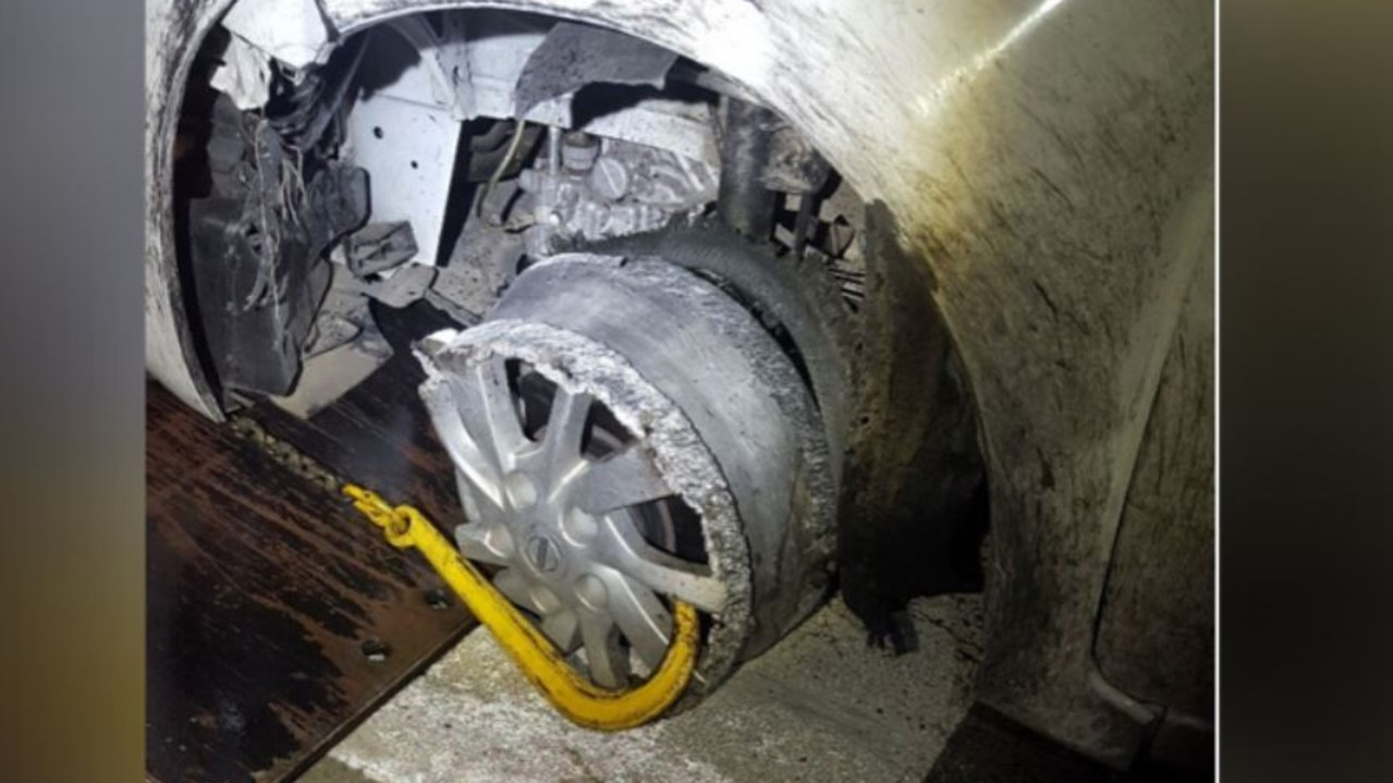 Cops were baffled when they spotted a driver in a car without a front left tyre – but his hilarious explanation left them stunned.