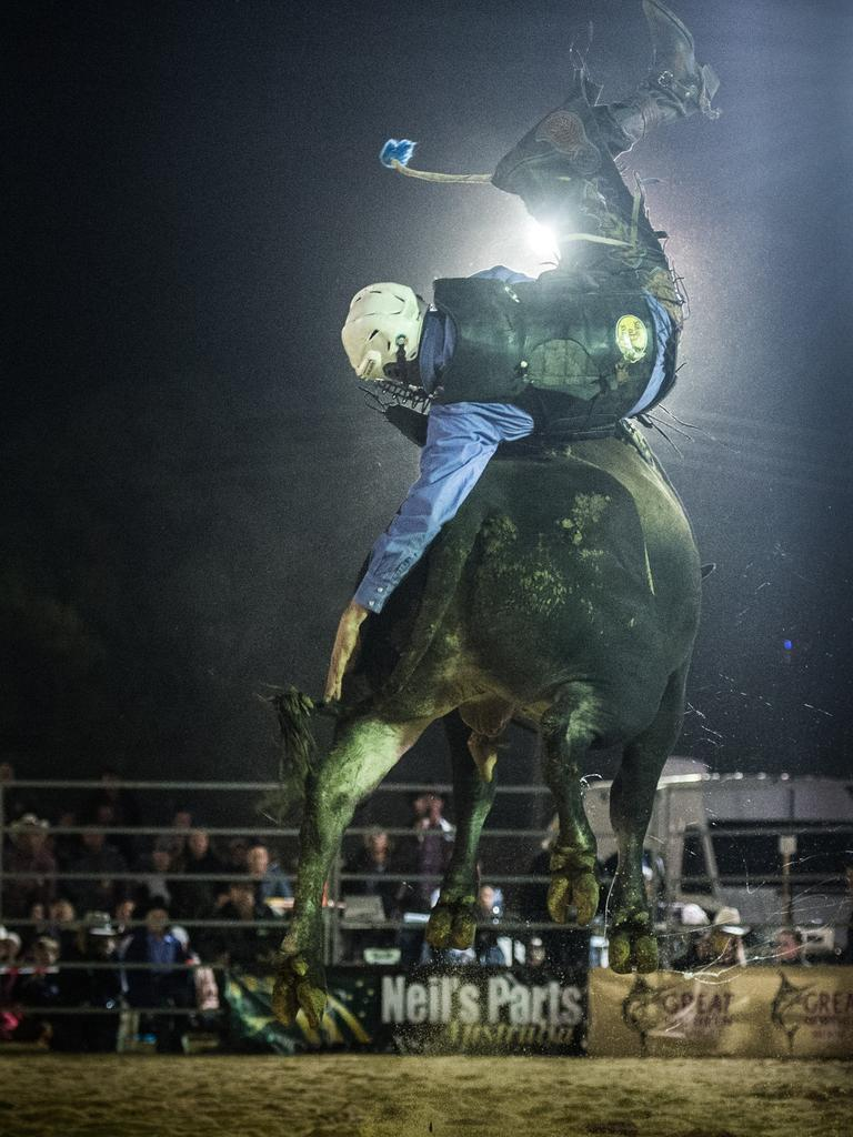 It's a long way down to the ground for Mick Knight as he is thrown from his bull in the preliminary rounds for the PBR Grafton event.