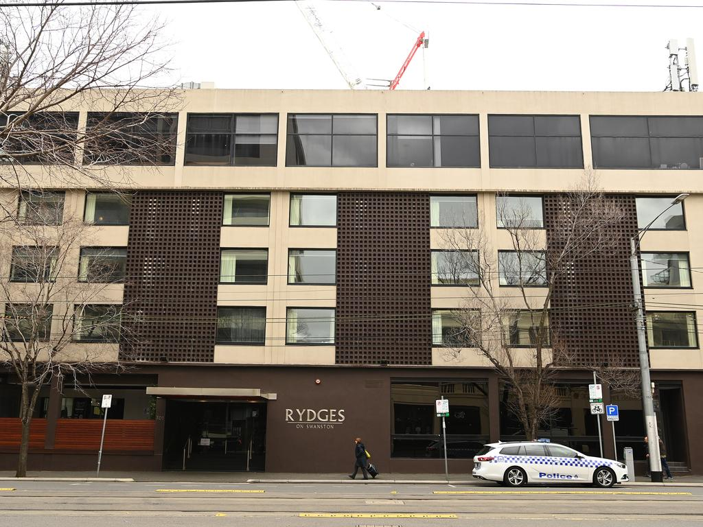 The Rydges on Swanston is linked to being one of the sources of Melbourne's coronavirus outbreaks where it accommodated returning overseas travellers for a 14 day quarantine period. Picture: Quinn Rooney