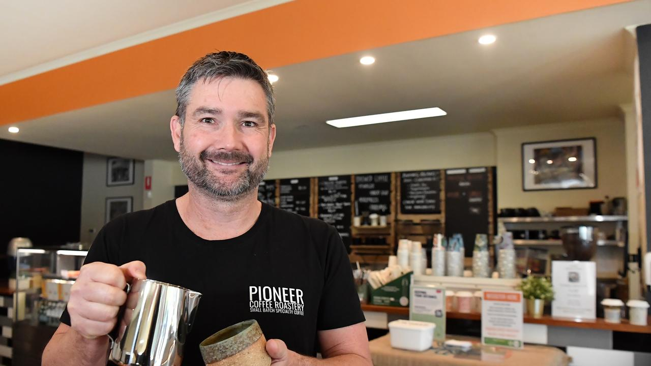 Pioneer Coffee Roastery manager Dan Kunde is happy the print site across the road from his Yandina business is staying open. Photo Patrick Woods / Sunshine Coast Daily.