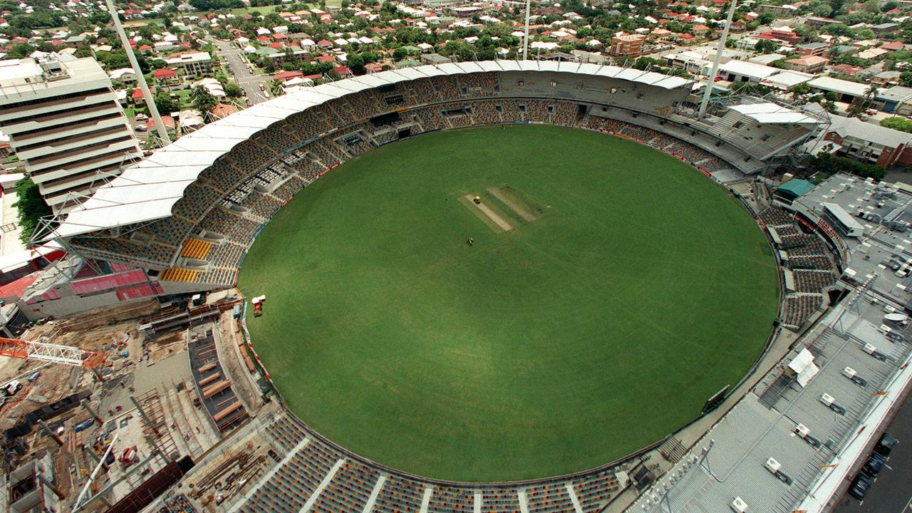 Aerial view of Gabba Cricket Ground Brisbane, Queensland 06 Jan 1999. stadium football oval /Stadiums
