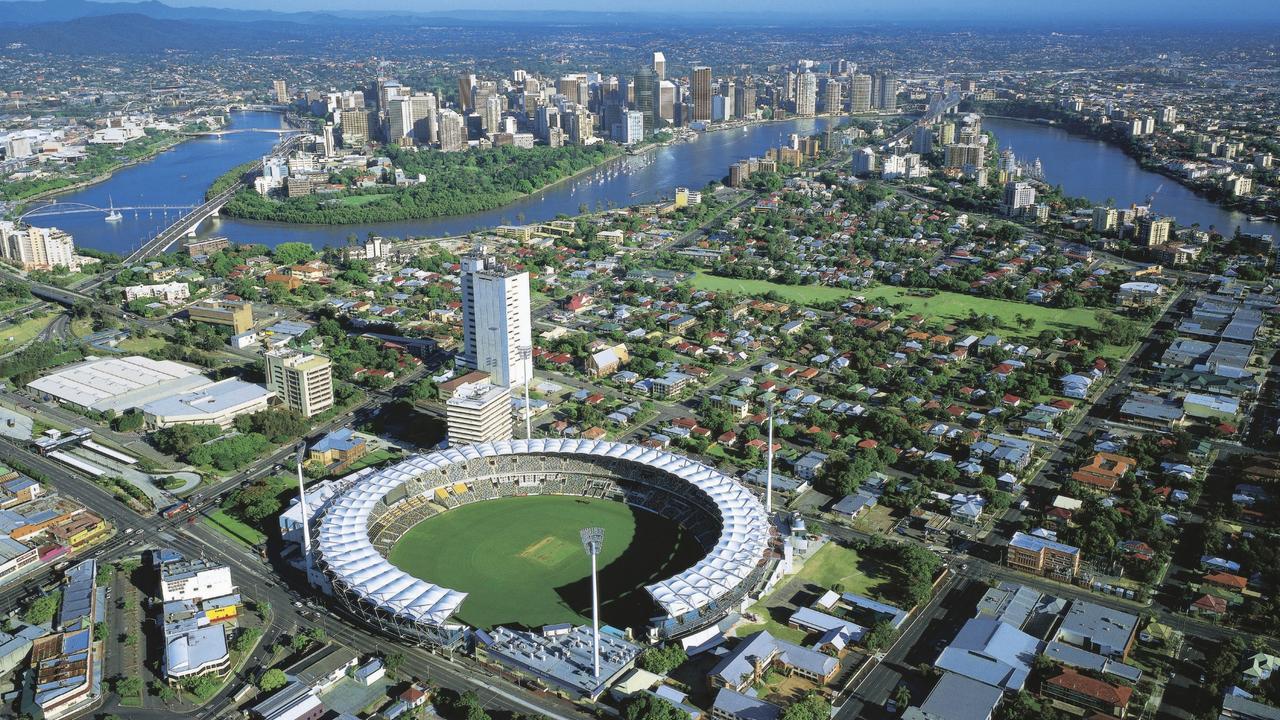 Aerial of the Gabba venue (Brisbane Cricket Ground) at Woolloongabba, and city of Brisbane, Queensland.