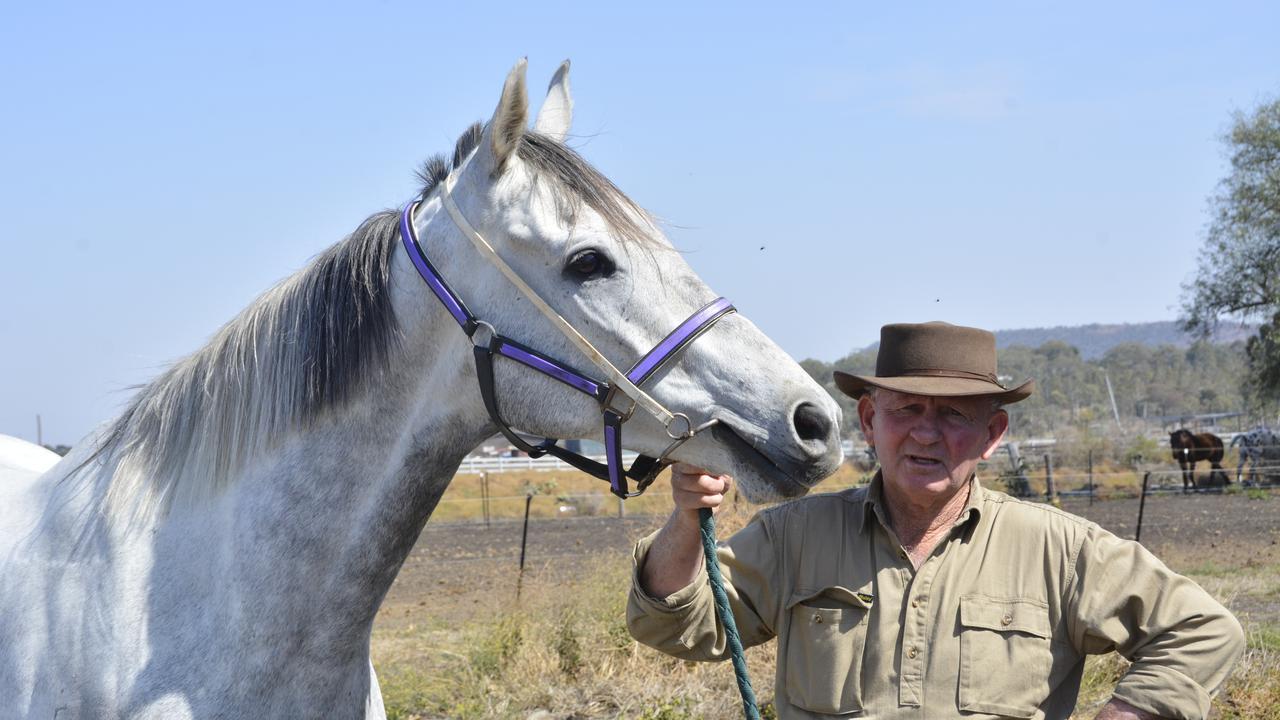 Toowoomba trainer Harry Richardson and Smokey Diamond. Photo: Glen McCullough
