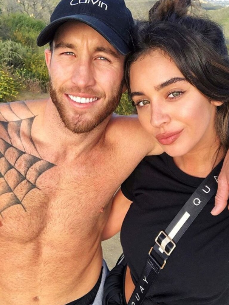 Former Survivor contestant and founder of charity Livin Sam Webb with his Former Miss California girlfriend Nadia Mejia. Picture: Instagram