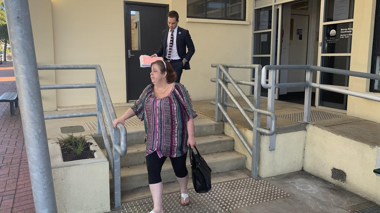 Sarah Treloar, who has pleated guilty to four counts of deception relating to fraud following the Cudlee Creek fires is leaving Murray Bridge Court on July 15 2020. Picture: Lydia Kellner.