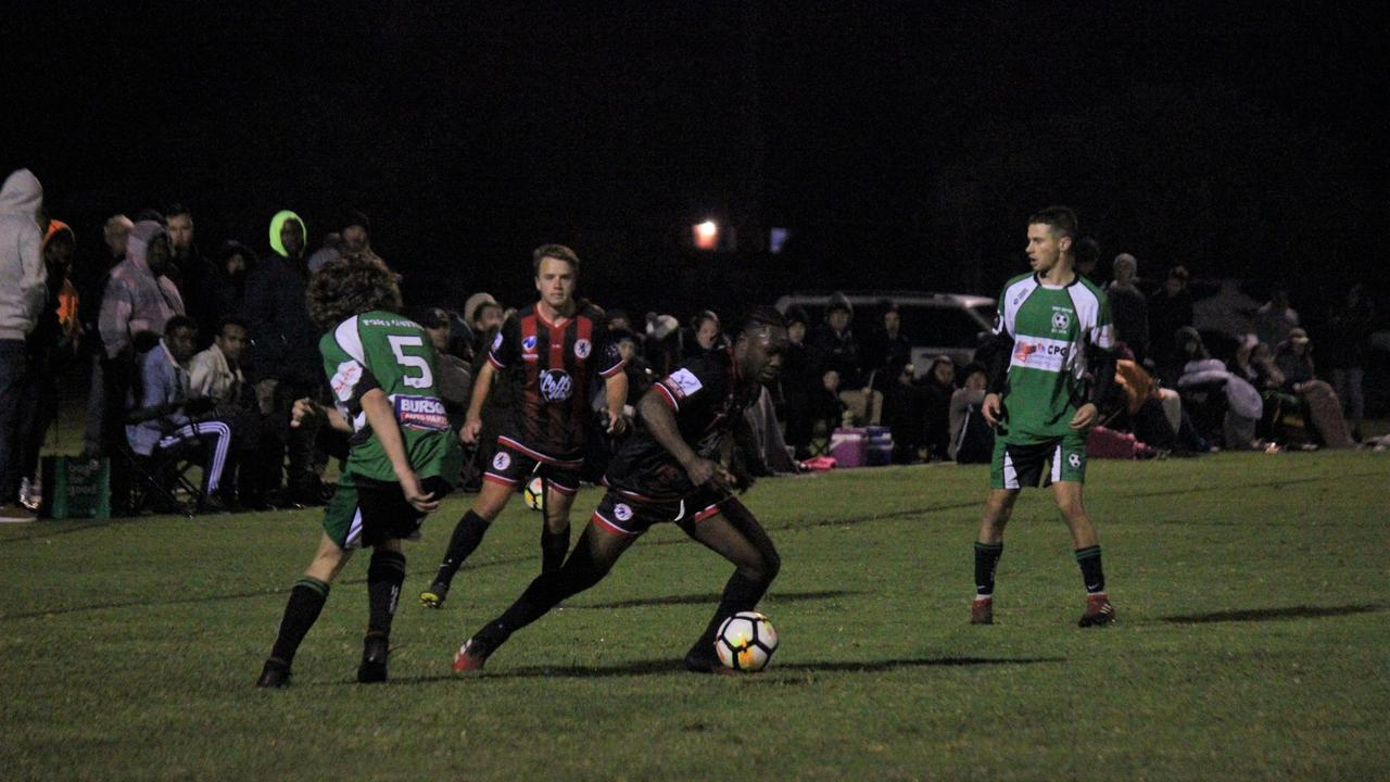 Caleb Lokpo had another starring role in the Coffs City Lions' 5-1 defeat of Taree Wildcats Photo: Tim Jarrett