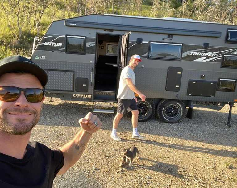 Picture: Chris and Liam Hemsworth camping on Queensland's Double Island.