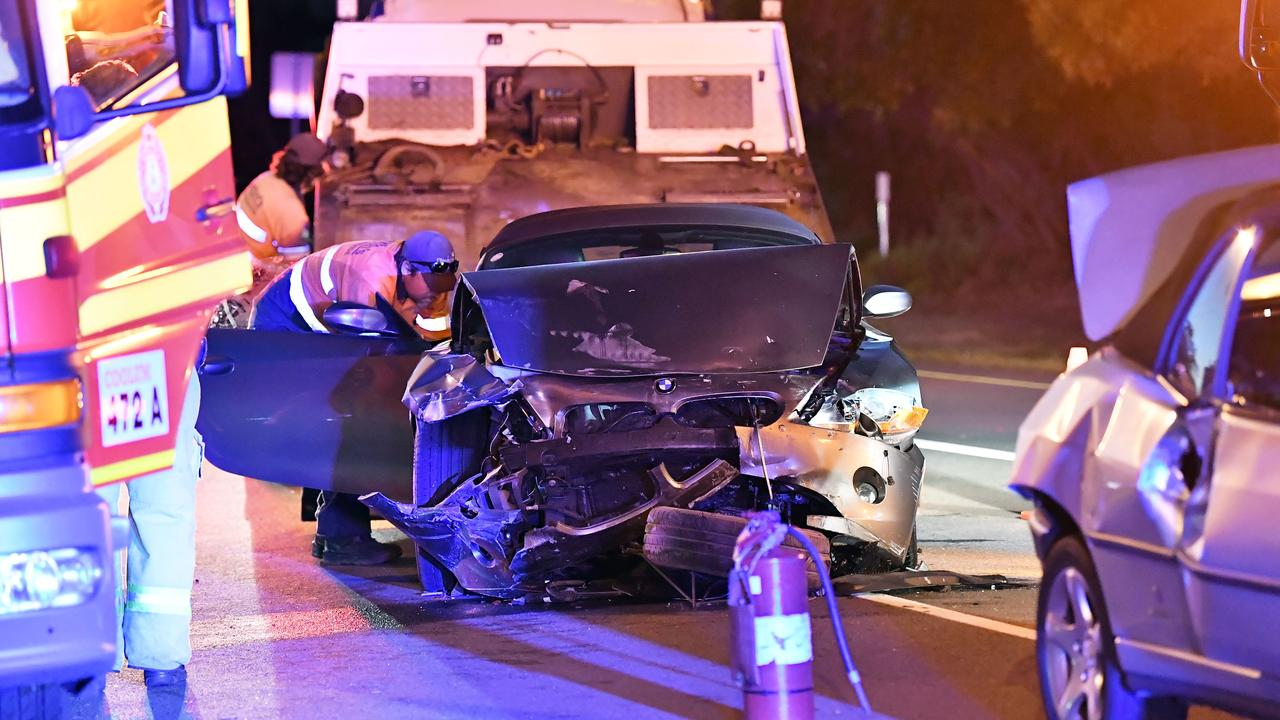 Tuesday night's two-vehicle crash near Coolum Sports Complex. Photo: Patrick Woods