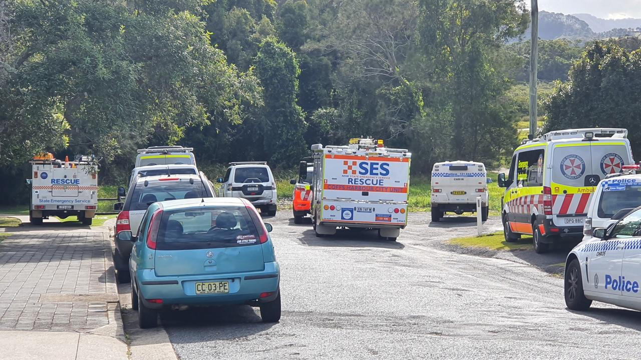 The scene at Coffs Harbour where a woman was riding along the popular track and fell onto mangroves and was impaled.