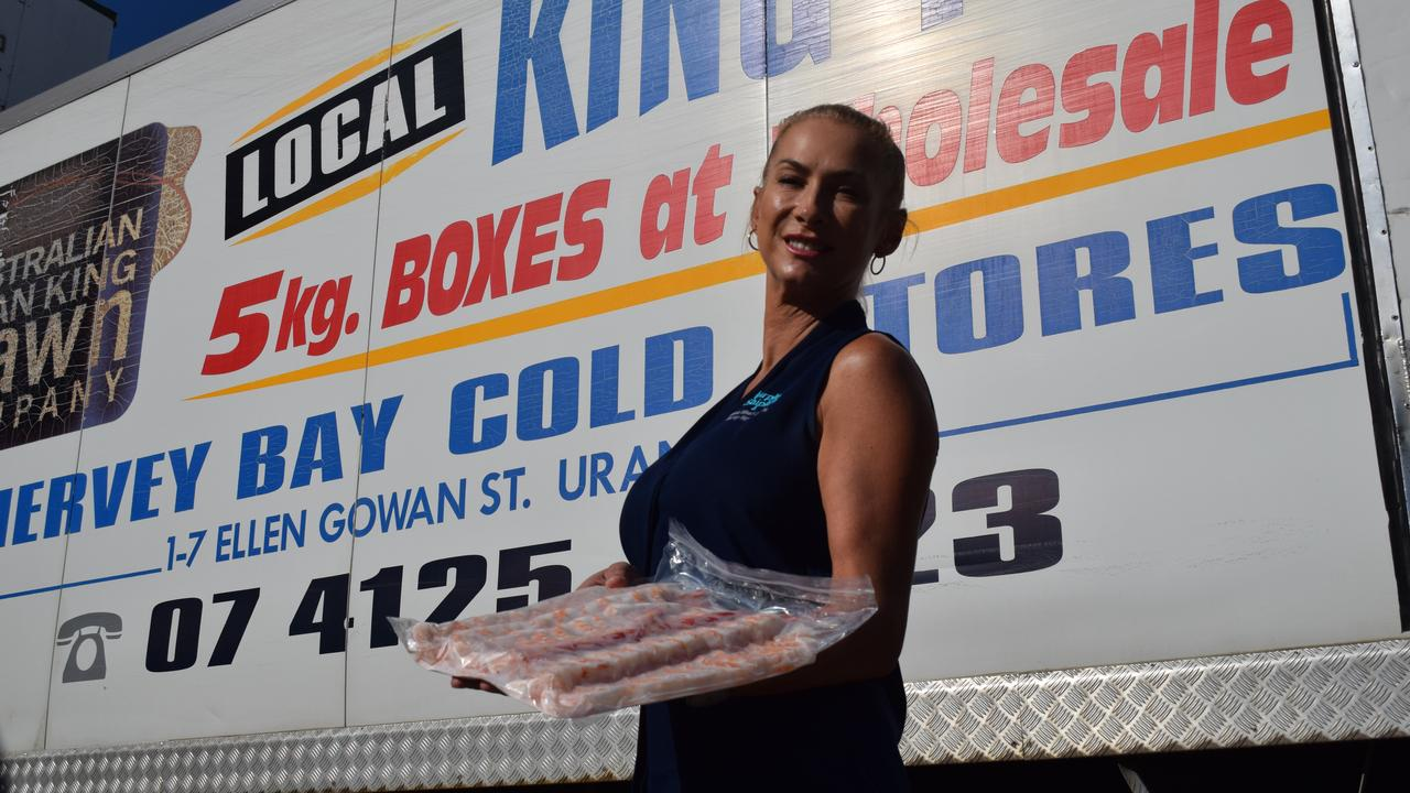 Admin Manager of Australian Ocean King Prawn Company, Therese McCrea shows of her seafood.