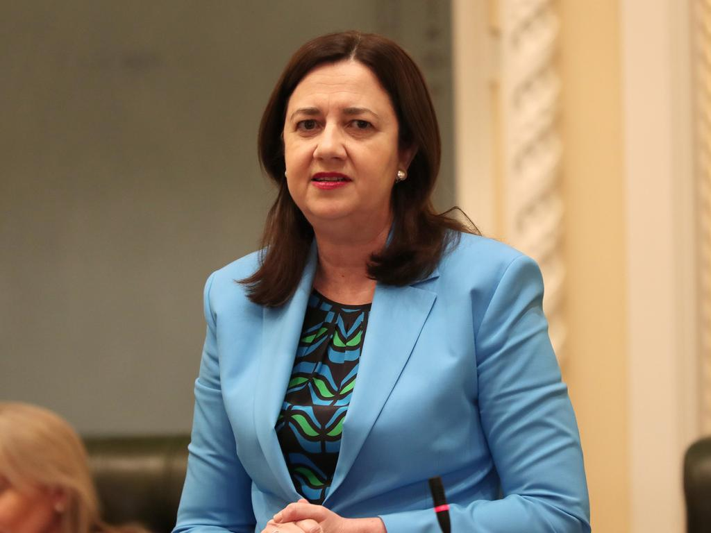 Premier Annastacia Palaszczuk speaking in Parliament yesterday. Picture: Tara Croser