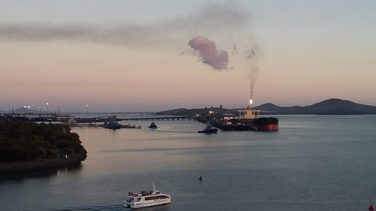 A flare burned on Curtis Island as part of shut down work at Santos GLNG last year.