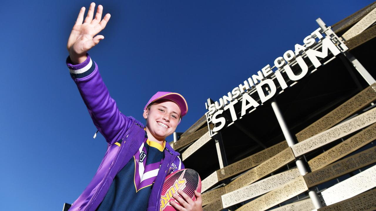 Storm fan Slater Thompson ready for Friday's big game. Photo Patrick Woods / Sunshine Coast Daily.