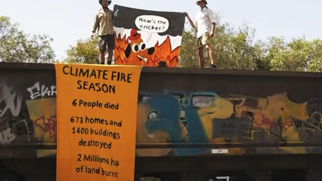 Climate change protest group Extinction Rebellion stopped a coal from entering Brisbane after two activists climbed atop the trains at Lytton in December last year. Picture: Supplied