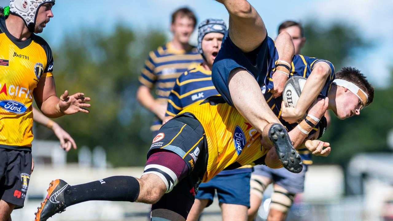Time to brush off the boots and get ready to play Gympie. The Gympie Hammers are one of the local clubs who are excited to be heading back out on to the paddock. Photo is of Rugby Union A Grade Men Gympie Hammers taking on Caloundra, with Liam Urwin of Gympie in the thick of it.