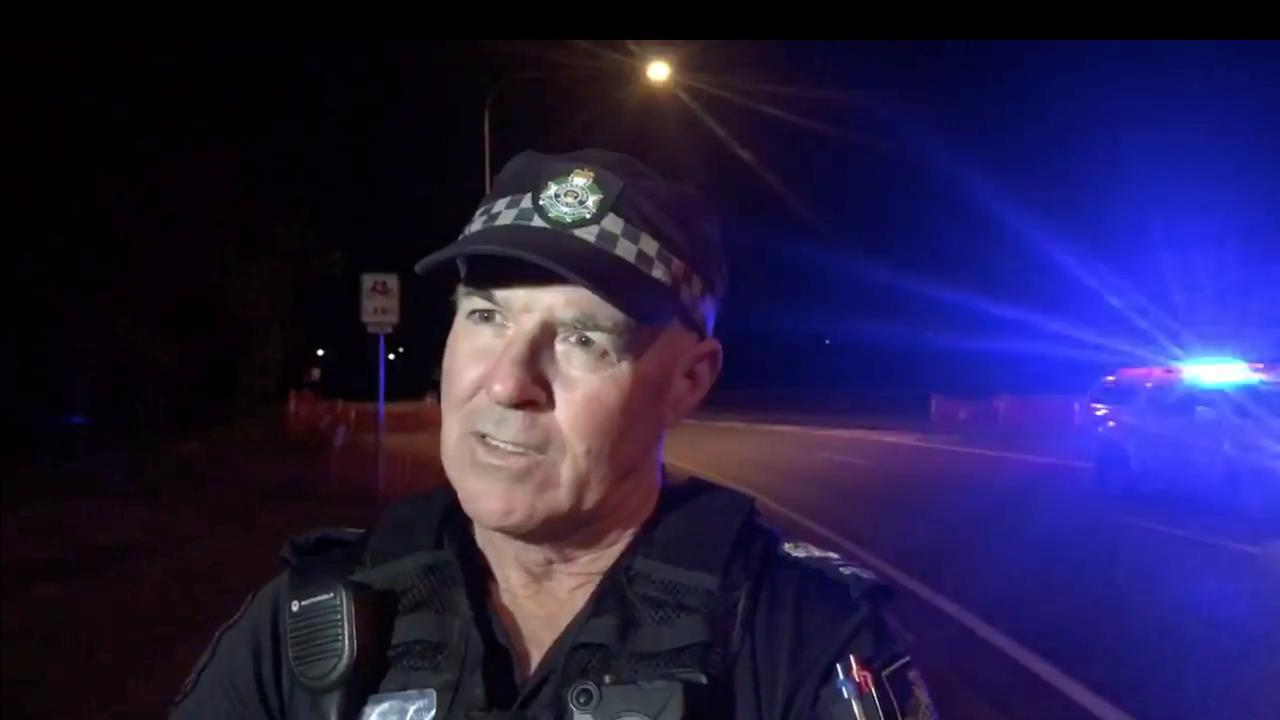 Mackay District Duty Officer Senior Sergeant Mark Sweetnam at the scene of a fatal pedestrian collision on Eimeo Rd at Rural View. The woman, 33, from Mackay was struck and killed by a passing vehicle about 7.20pm Wednesday, July 15.