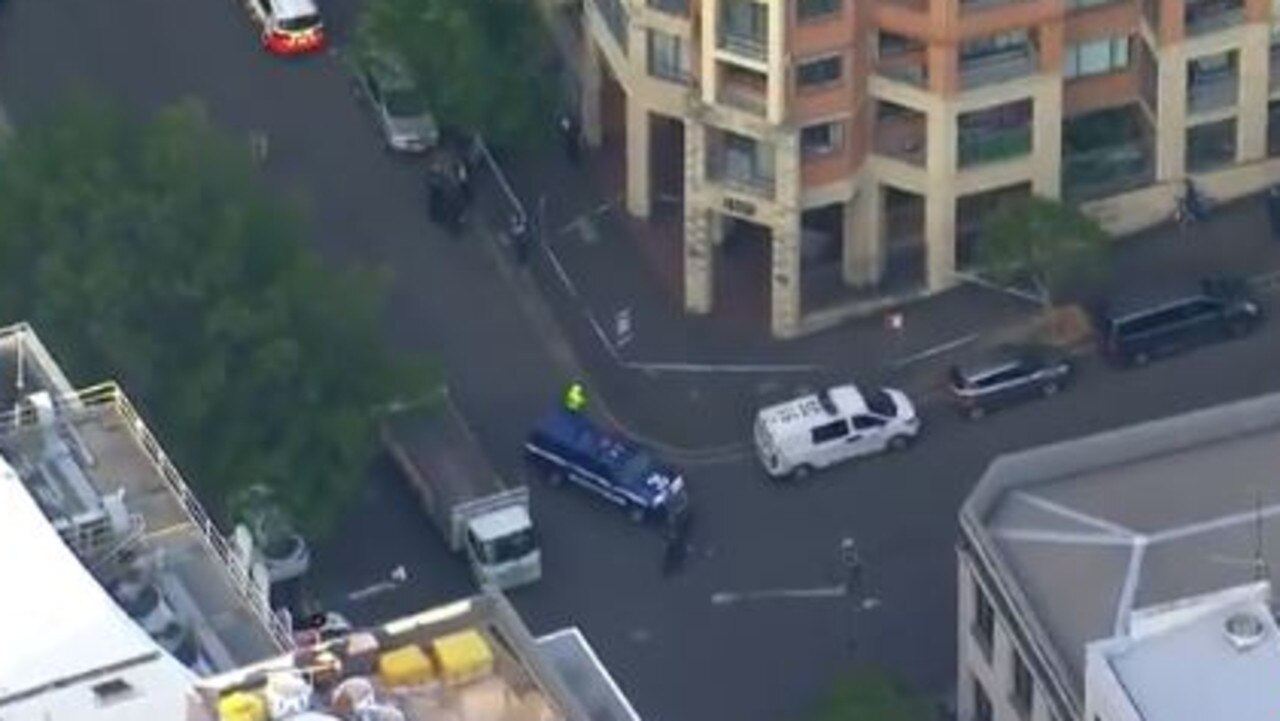 Police are at the scene of a fatal stabbing at an apartment complex in central Sydney. Picture: 7 News