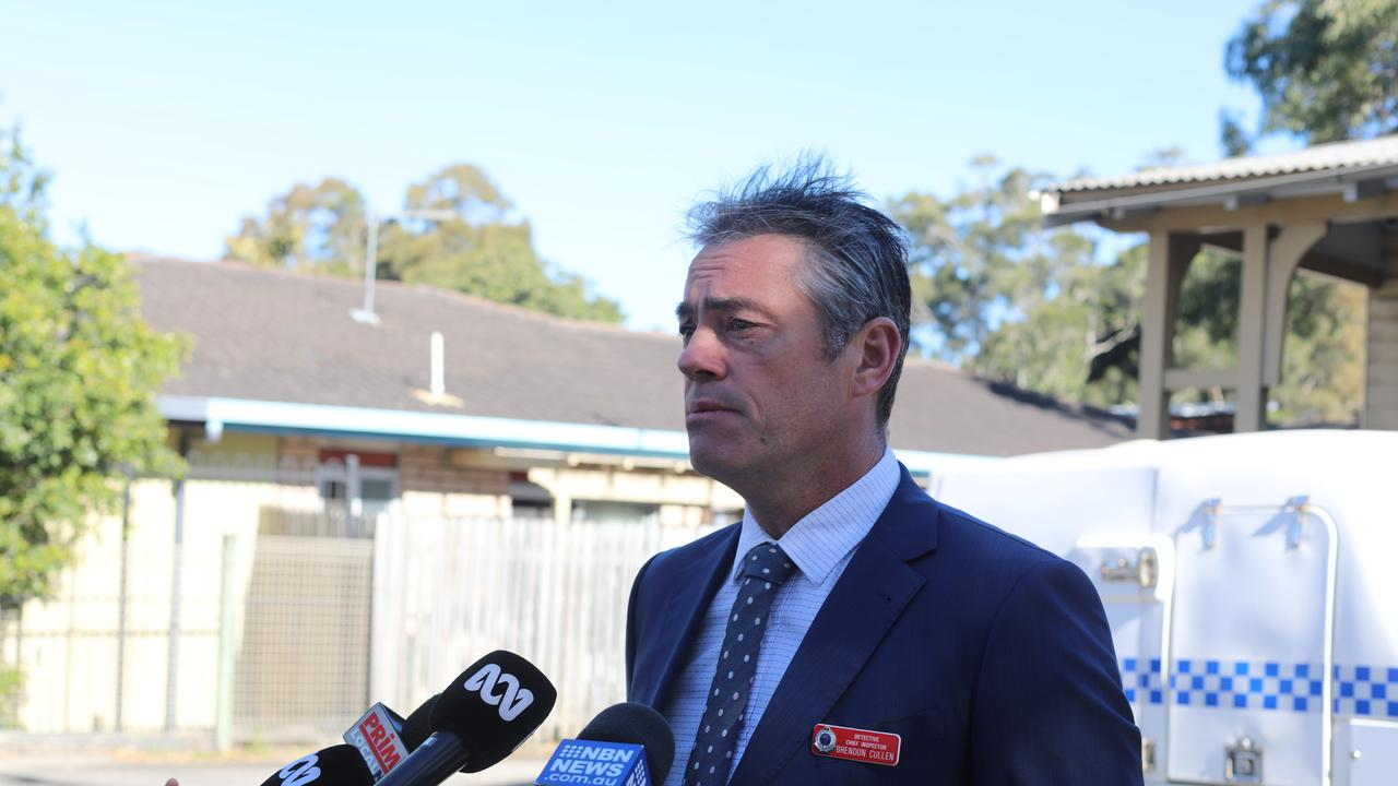 Tweed Byron Police District crime manager Detective Chief Inspector Brendon Cullen speaks to media on Thursday, July 16, after skeletal remains were found in bushland in Byron Bay on Wednesday.