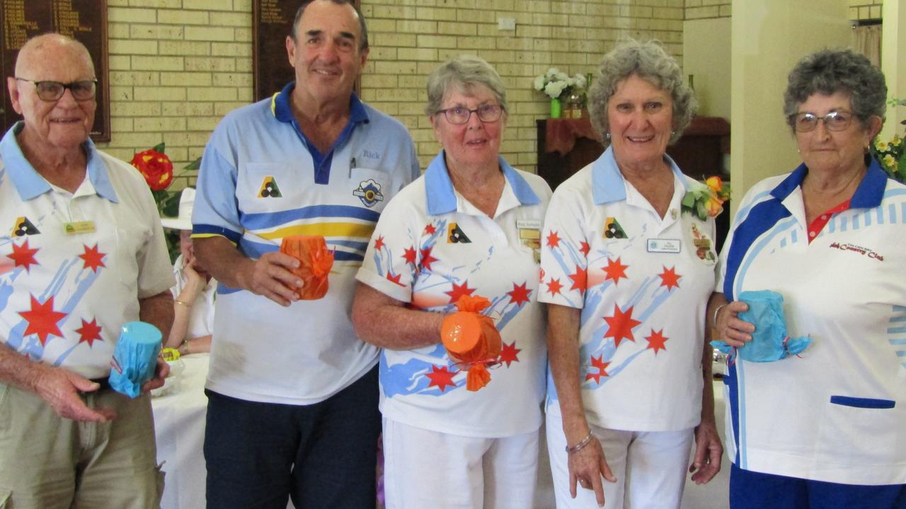 Cooloola Coast Bowls Club - Terry Chamberlain, David McClurg, Marg Turmaine, president Jill Falzon and Janet Patzwald.